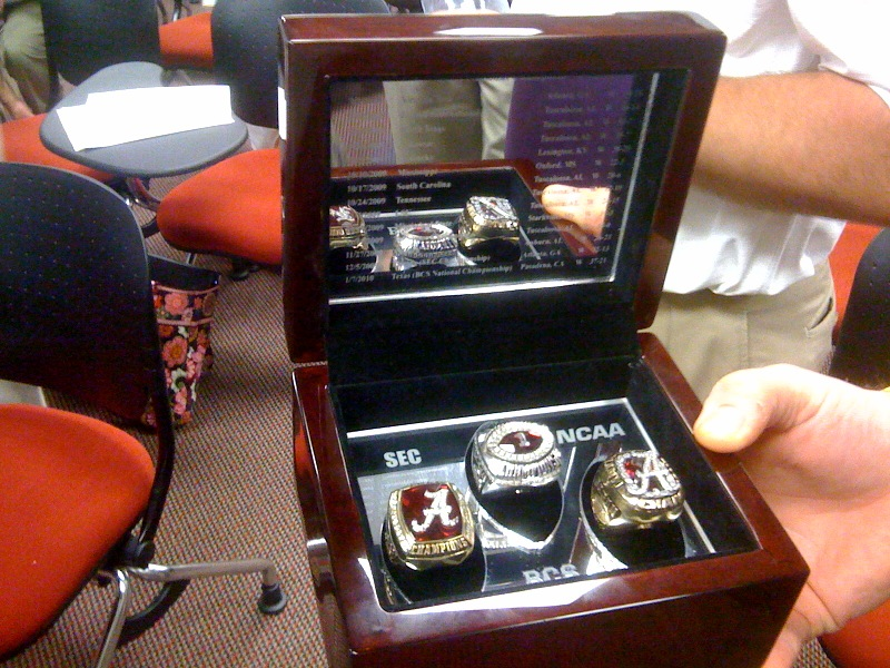 Alabama Crimson Tide 2010 SEC, BCS, and NCAA Championship rings